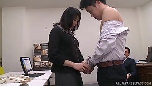 Japanese babe gets fucked in the office while her boss watches