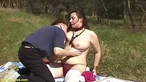 German chubby natural Bristols old hat modern gets ground-breaking rough outdoor fucked by her chubby learn of boyfriend