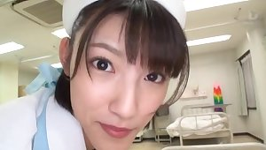 POV video of Japanese nurse Iioka Kanako giving groupie together with swallowing