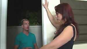 MILF gives a handjob to guy who doesn't allow her to masturbate