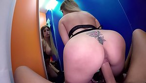 Big ass babe tries a bit of sex in the changing room