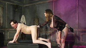 Dominant milf ass fucks male slave and forces him to gag her toy