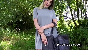 Uncompromised ass blonde bangs in public for money