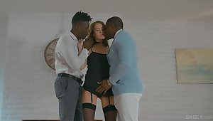 White Elite whore Zoe Sparx serves three black clients for the first time