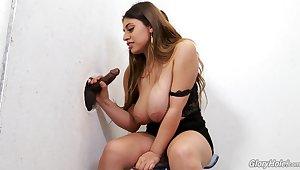 Mega busty babe Ella Knox gets drenched facial after hot glory hole making love