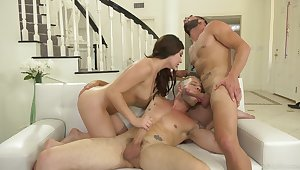 Unforgettable clamminess bisexual MMF triune with nice Keira Croft