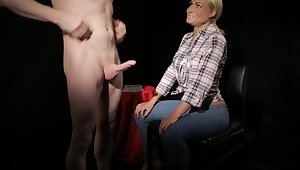 Phoebe Adams sucks a stiff dick of a very lucky gentleman. HD