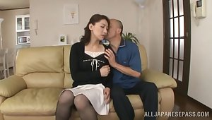 Japanese hottie Marina Matsumoto gets her linty middle creampied