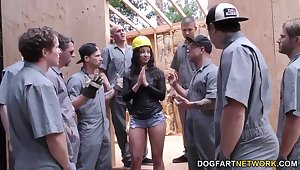 Whorish slender bitch Teanna Tru is mouthfucked by lots of studs