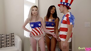 Americans Lexi Lore and Vienna Black celebrate anent taboo threesome