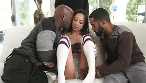 Insolent chick loads proper BBC into her tight Asian holes