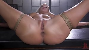 Naked and bound blonde is fucked back unlike proceeding by their way master