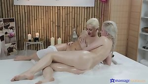 Several Gorgeous Blondes Rub Each Other's Tits In Oil