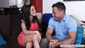 Ariella Ferrera fucking in an obstacle couch with their way outie pussy