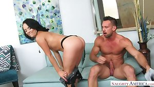 Kristina Rose having it away in be passed on couch roughly her furuncle butt